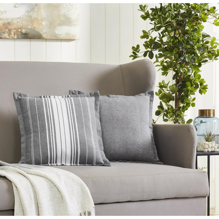 olivia gray hudson bay cotton throw pillow set 20 in x 20 in charcoal 100 cotton rectangular indoor decorative pillow