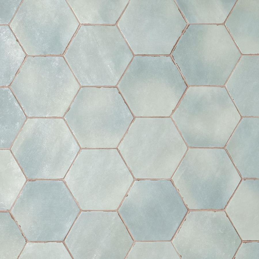 artmore tile hex 30 pack ocean blue 6 in x 8 in matte porcelain encaustic floor and wall tile