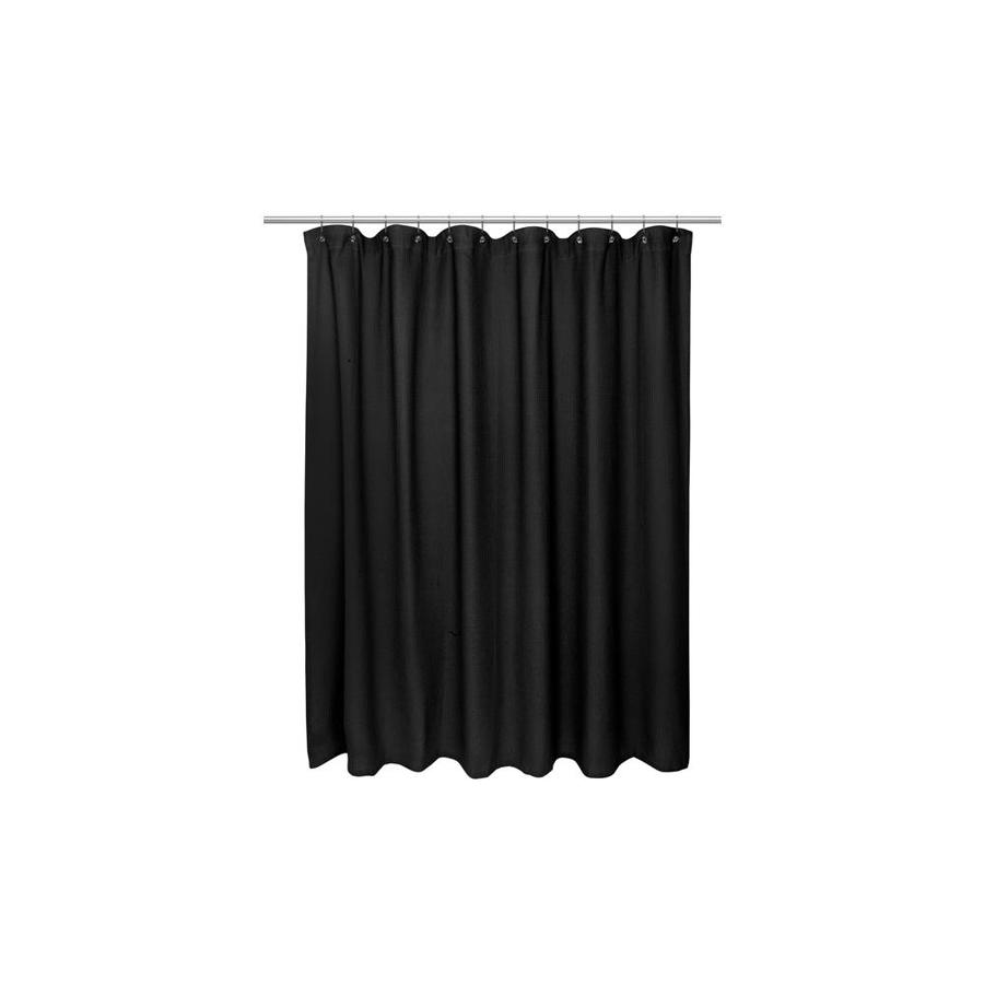 carnation home fashions fcot1 xl 16 72 x 84 in extra long 100 percent cotton waffle weave shower curtain black in the endless aisle department at lowes com