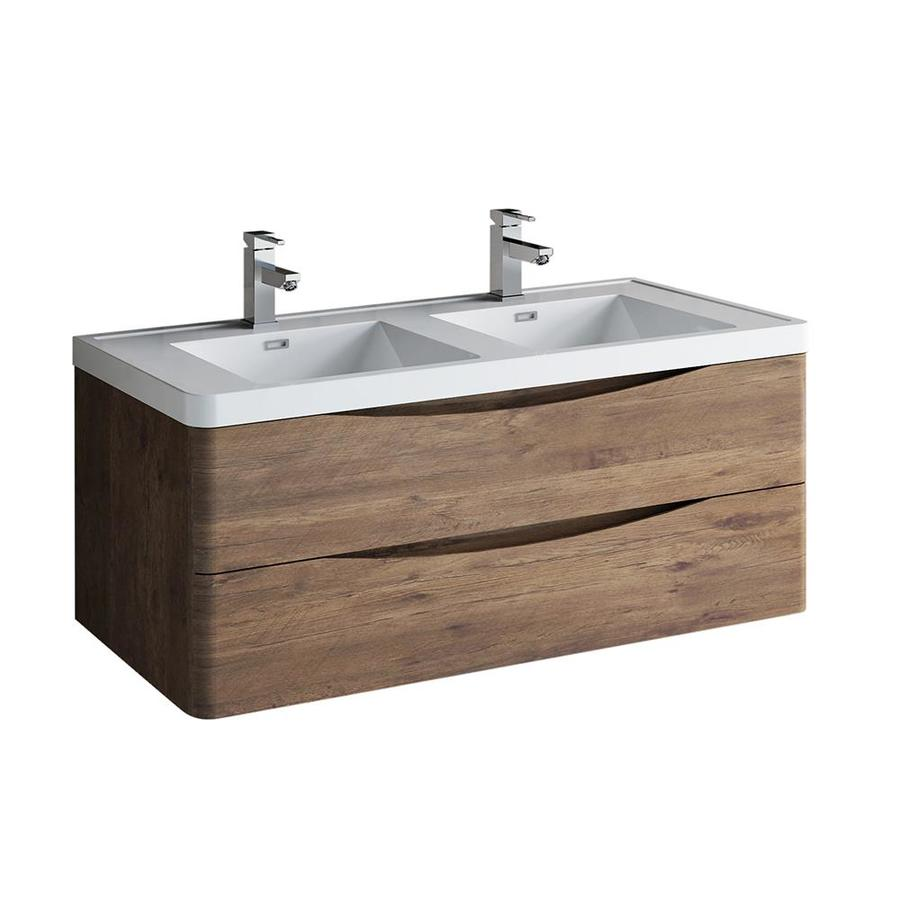 fresca tuscany 48 in rosewood double sink bathroom vanity with white acrylic top
