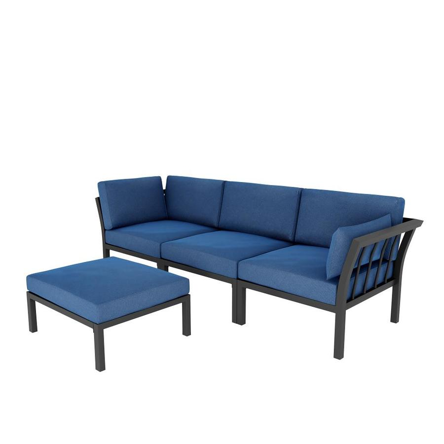 top home space sectional with cushion s and blue steel frame