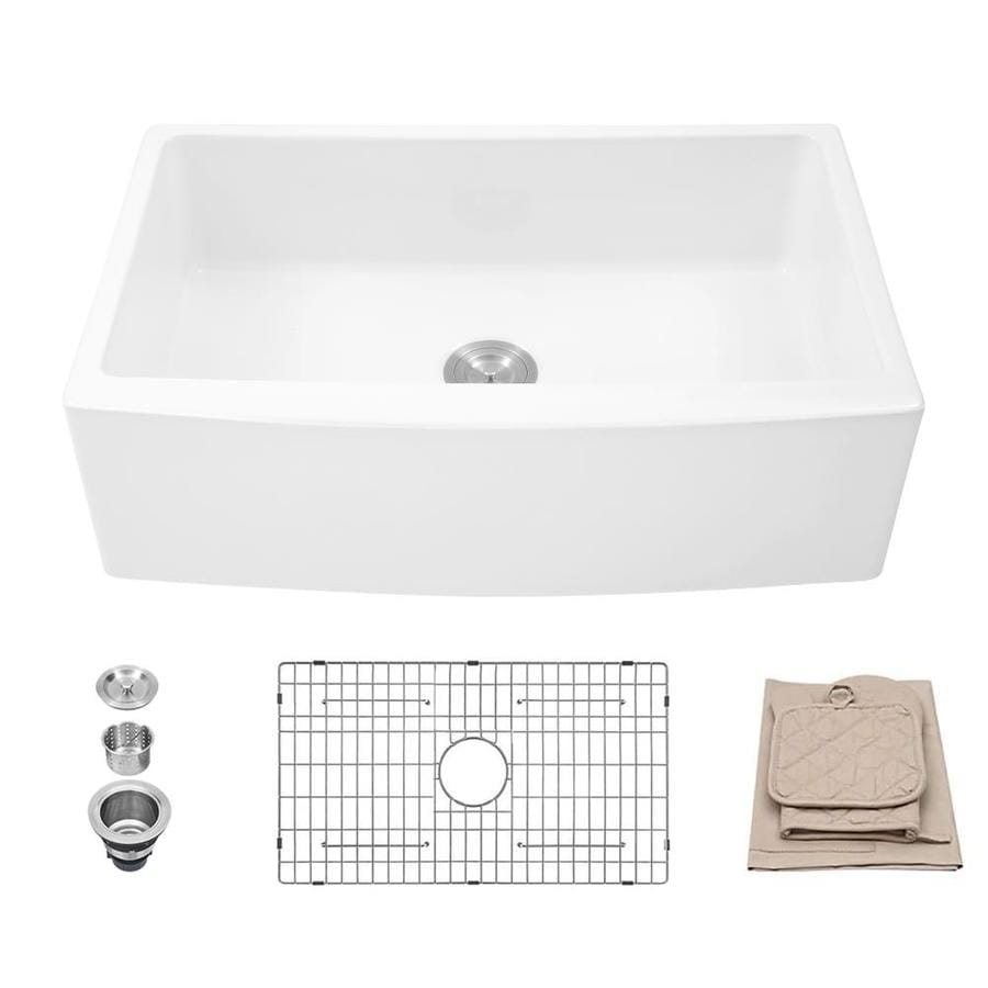 matrix decor farmhouse apron front 10 in x 30 in white single bowl 1 hole corner install kitchen sink all in one kit
