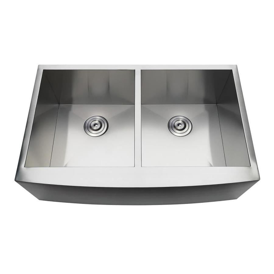 kingston brass gourmetier farmhouse apron front 33 in x 21 25 in brushed double equal bowl kitchen sink