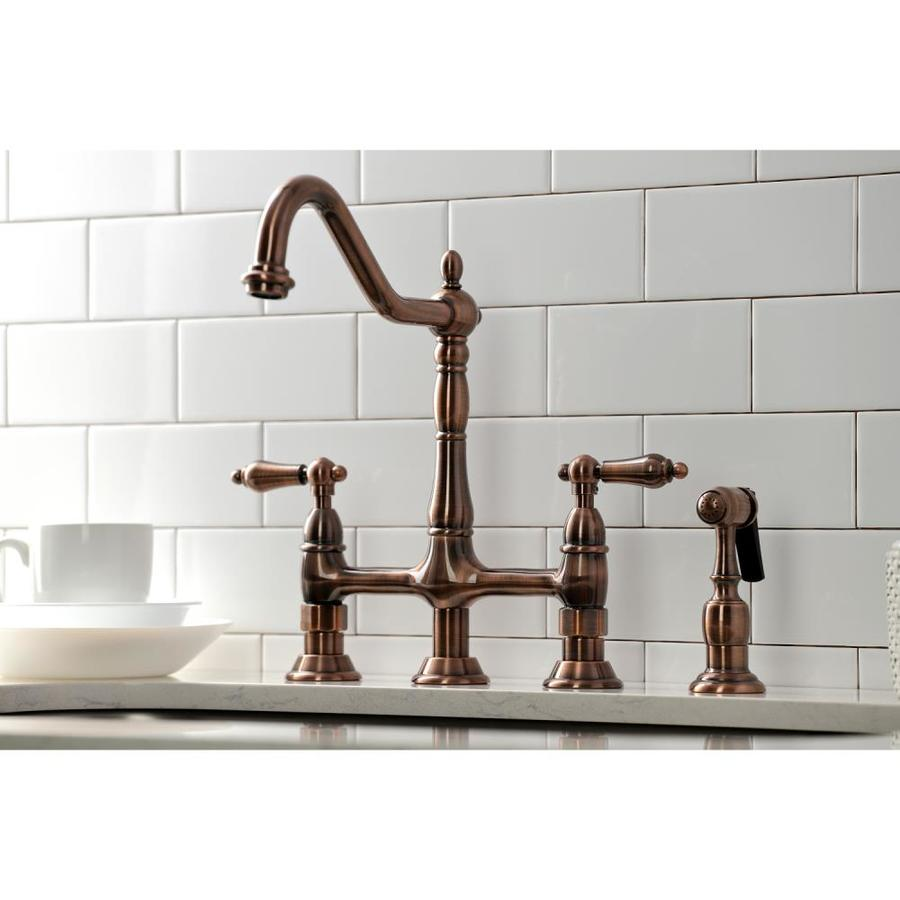 kingston brass heritage antique copper 2 handle deck mount bridge handle kitchen faucet in the kitchen faucets department at lowes com