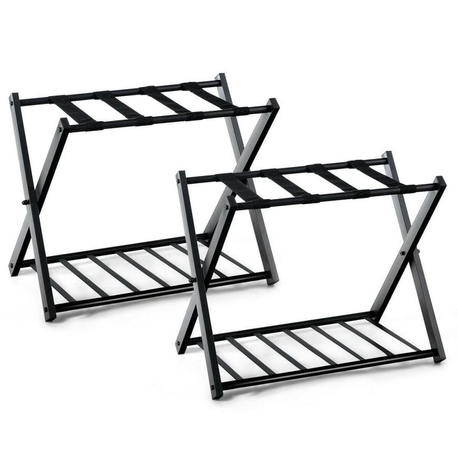 goplus set of 2 folding luggage rack with shelf travel suitcase shoe storage holder