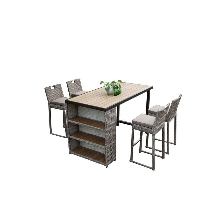 https www lowes com pd courtyard casual courtyard casual bravo 5 piece brown outdoor bar table and 4 barstools with cushions 5001560439