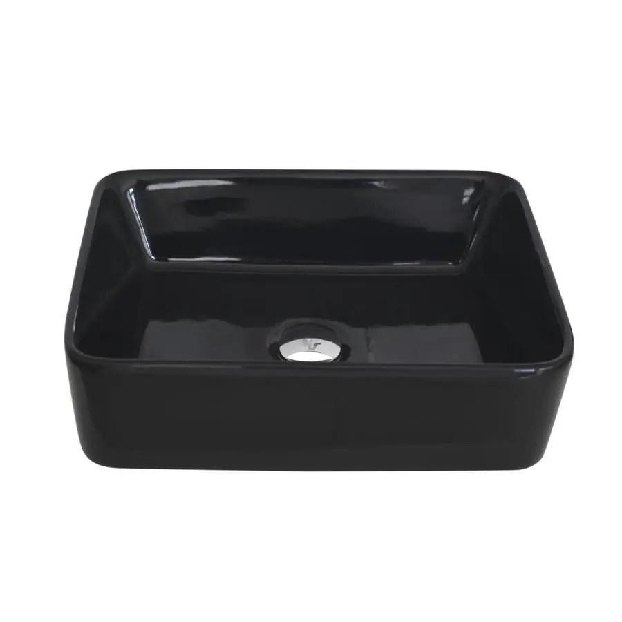 stylish porcelain sinks black porcelain vessel rectangular bathroom sink drain included 18 7 in x 14 5 in
