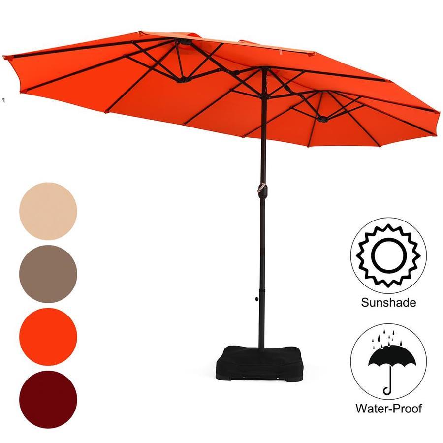 goplus 15 ft market patio umbrella with base