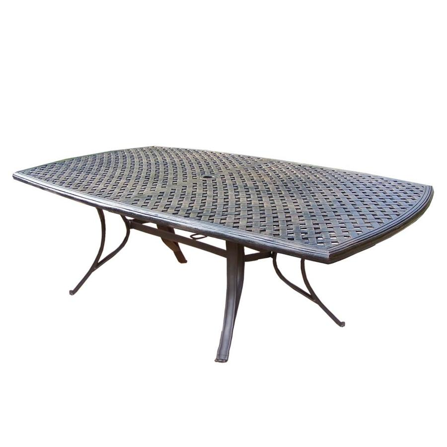 oakland living outdoor dining tables rectangle outdoor dining table 70 in w x 38 in l with umbrella hole