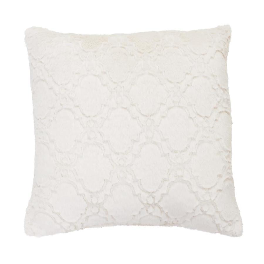 decor therapy mia lattice throw pillow set 18 in x 18 in egret faux fur square indoor decorative pillow