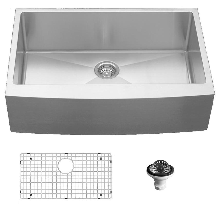karran elite farmhouse apron front 33 in x 21 25 in stainless steel single bowl kitchen sink