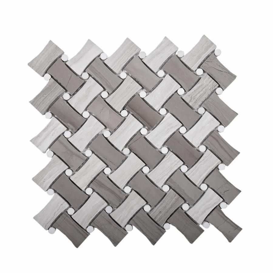 apollo tile 5 pack gray 11 in x 11 in polished natural stone basketweave wood look floor and wall tile lowes com