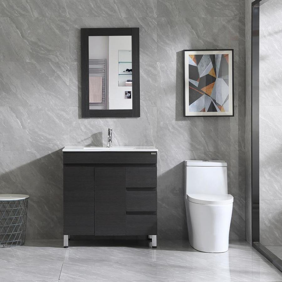 wonline 32 in white single sink bathroom vanity with white wood top mirror and faucet included