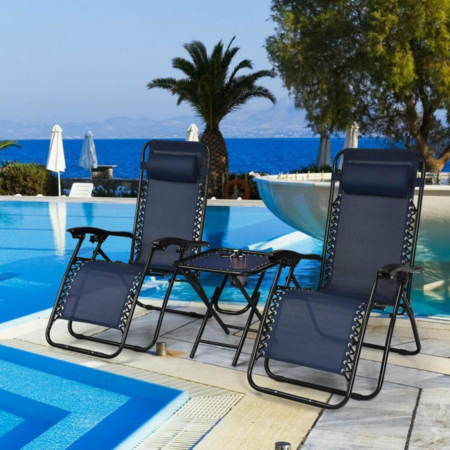 navy sling seat in the patio chairs