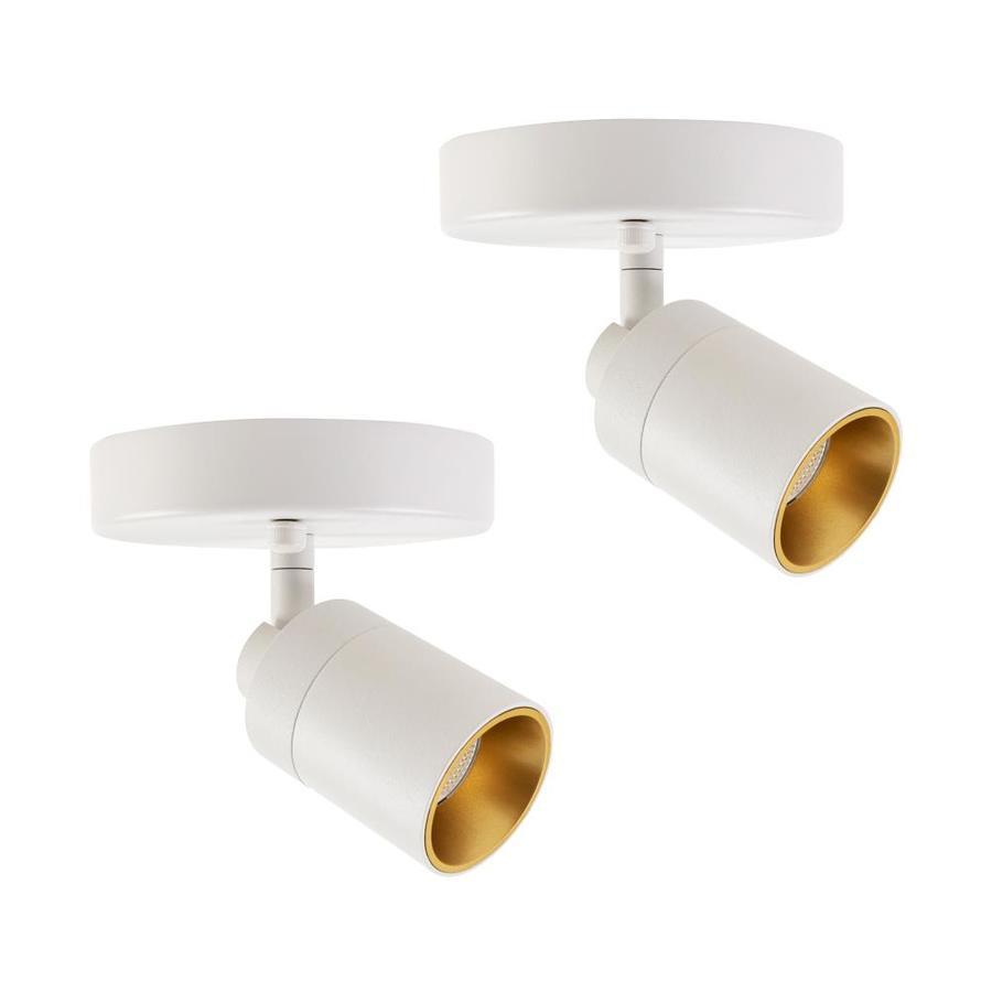 vidalite modern led spotlight sconce lighting adjustable flush mount spot light with rotating head sand white iron 2 pack