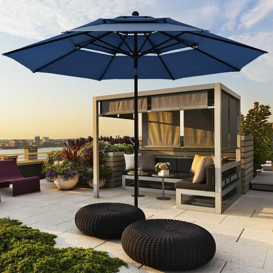 casainc 10 ft navy auto tilt market patio umbrella