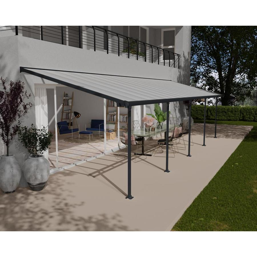 30 ft gray clear aluminum patio cover