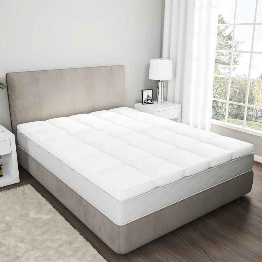 hastings home down mattress topper king size 4 gusset duck and down filled featherbed with cotton cover plush pillow top by hastings home