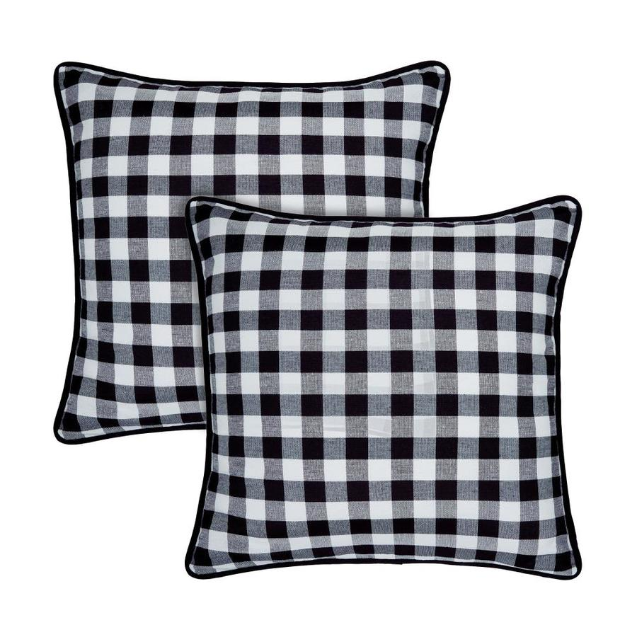 achim buffalo check polyester cotton set of 2 18 in x 18 in throw pillow covers in black white