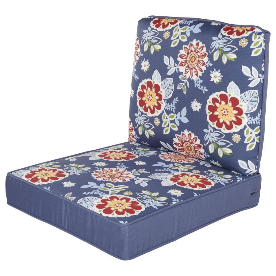 haven way 2 piece blue floral patio chair cushion