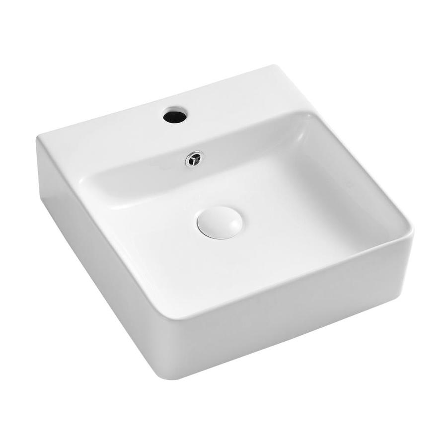 boyel living 15 75 in x 16 14 in art ceramic rectangular wall mounted vessel sink above counter in white in the bathroom sinks department at lowes com