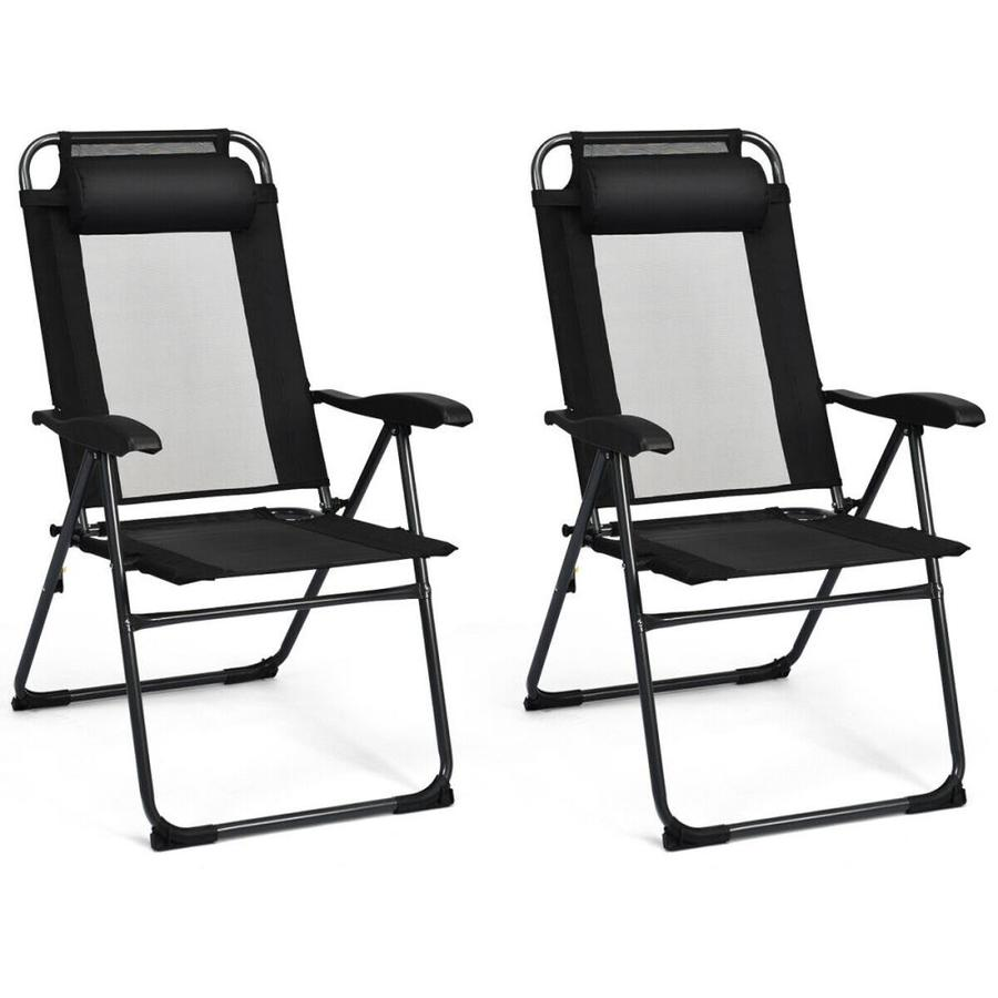 clihome black steel frame 2 pcs patio adjustable folding recliner chairs