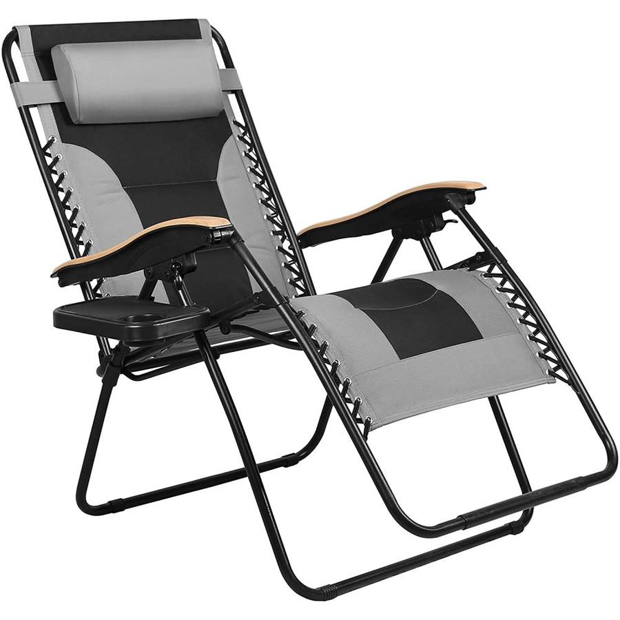 veikous outdoor zero gravity lounge chair recliner folding padded with cup holder oversized patio reclining chair with wood effect armrests for lawn