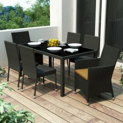 Heavy Duty Resin Patio Chairs Kelly Posture Chair Shop Corliving Park Terrace 7-piece Black Wood Frame Wicker Dining Set With Sunset Yellow ...