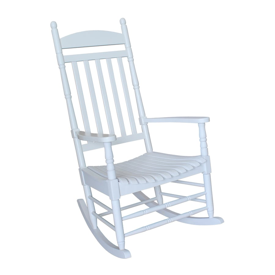 rocking chair white outdoor and half international concepts acacia with slat seat at lowes com