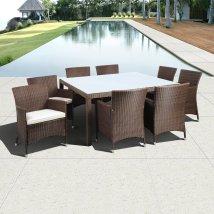 International Home Atlantic 9-piece Brown Glass Patio