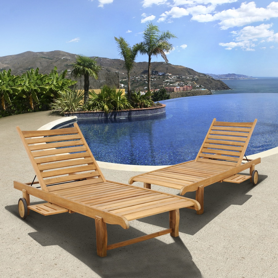 Teak Chaise Lounge Chairs International Home Amazonia Teak Set Of 2 Teak Chaise Lounge Chair