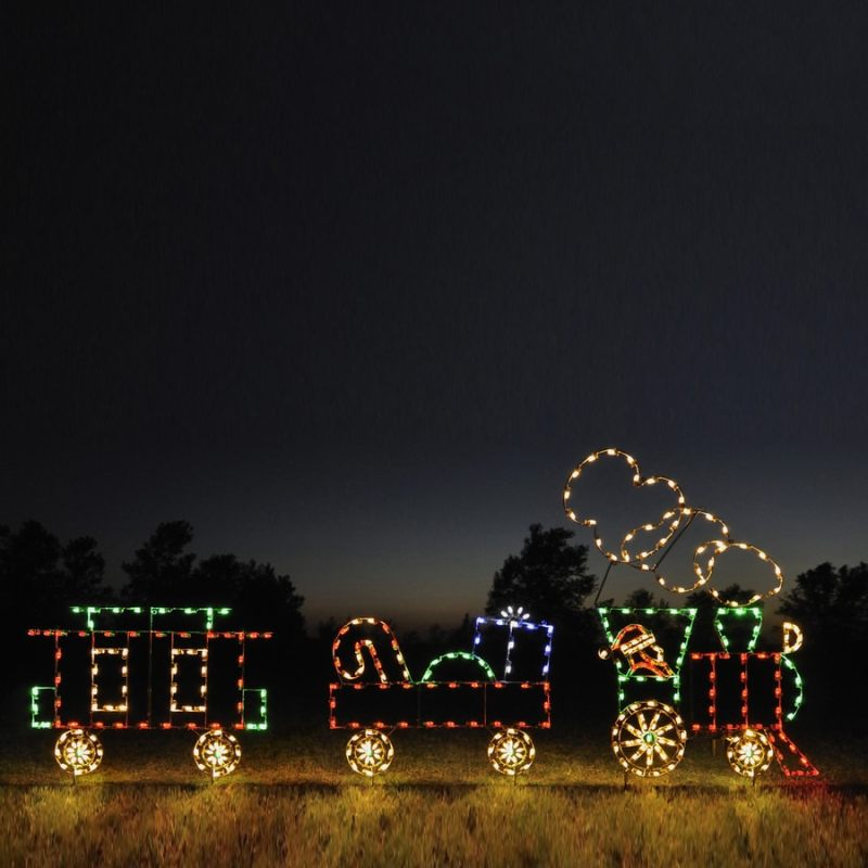 Christmas train lights outdoor for Outdoor christmas train decoration