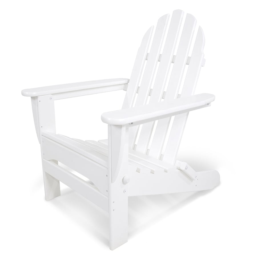 plastic lawn chairs lowes big lots chair and ottoman shop polywood classic adirondack white folding patio at lowes.com