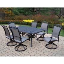 Oakland Living Cascade Sling 7-piece Black Metal