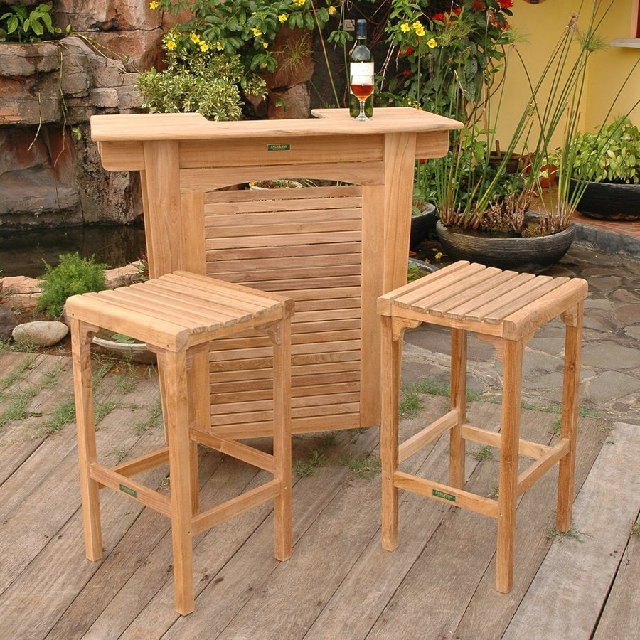 Anderson Teak Montego 3 Piece Brown Wood Frame Patio - Lowe's Patio Dining Sets