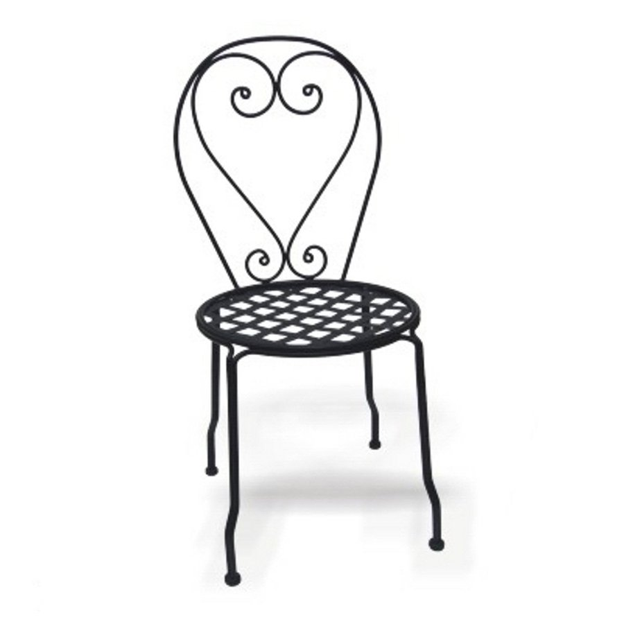 wrought iron chairs lowes red chair covers for cheap shop d.c. america set of 4 black slat seat patio dining at lowes.com