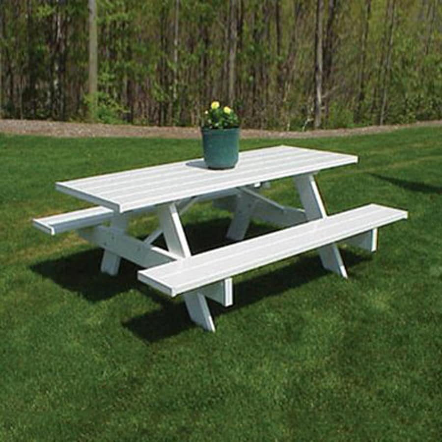 Shop Duratrel 6ft White Rectangle Picnic Table At Lowesm
