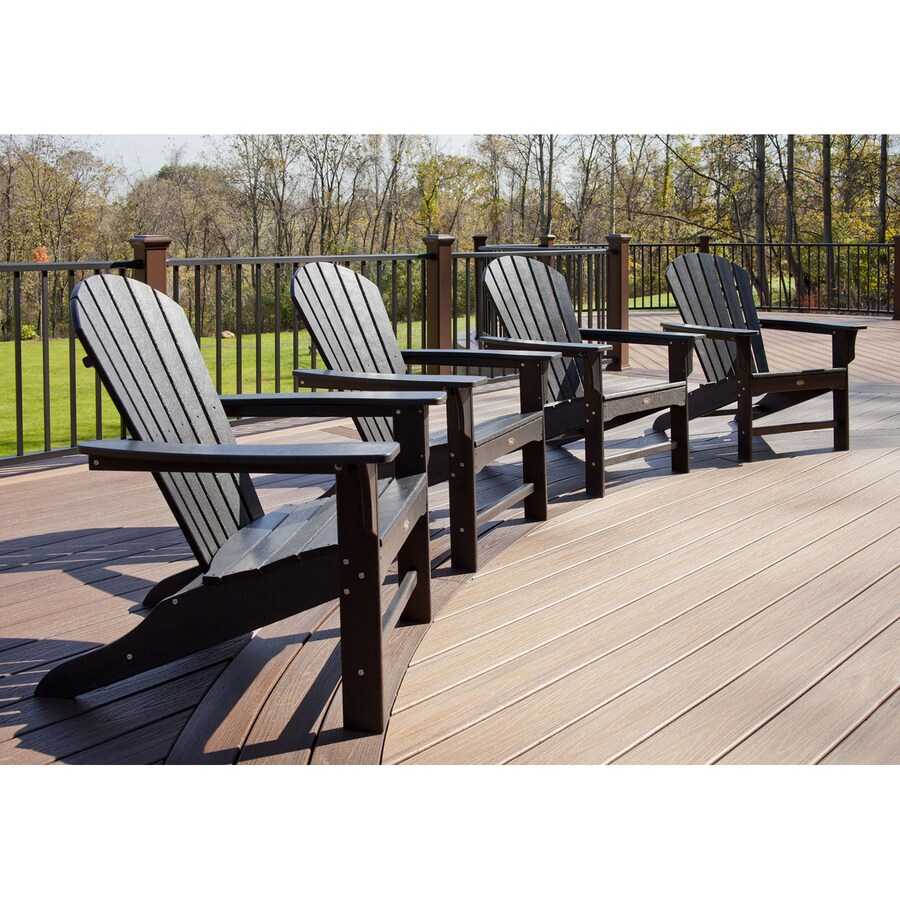 Adirondack Chair Set Trex Outdoor Furniture Set Of 4 Cape Cod Charcoal Black Plastic