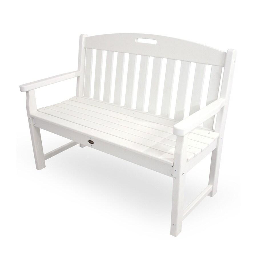 classic white plastic patio bench