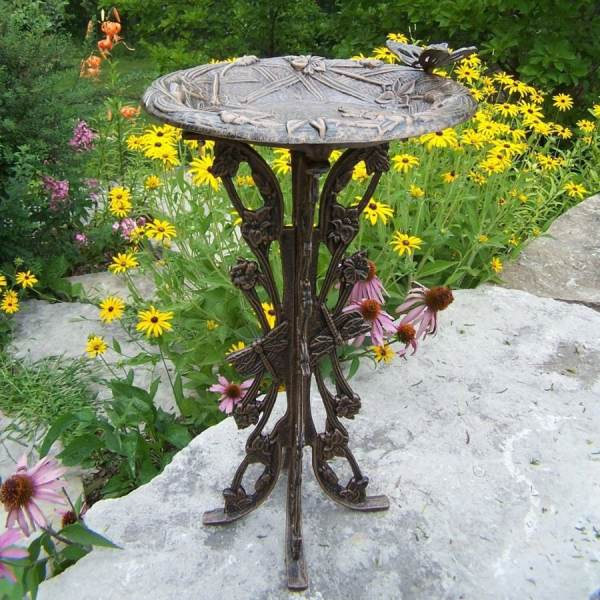 Oakland Living Butterfly And Dragonfly 28-in 1-tier Cast Iron Birdbath