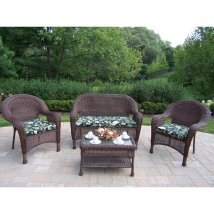 Oakland Living Resin Wicker 4-piece Frame Patio