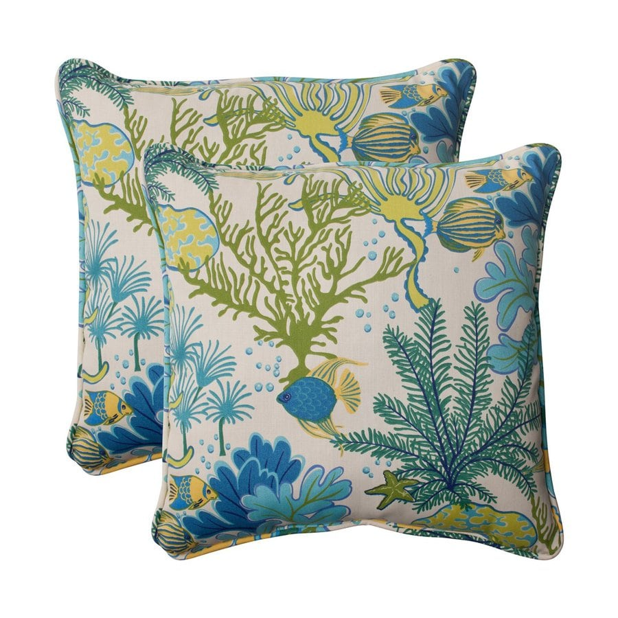 Shop Pillow Perfect Floral Blue Square Throw Pillow at