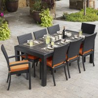 Shop RST Brands Deco 9-Piece Brown Wood Frame Wicker Patio ...