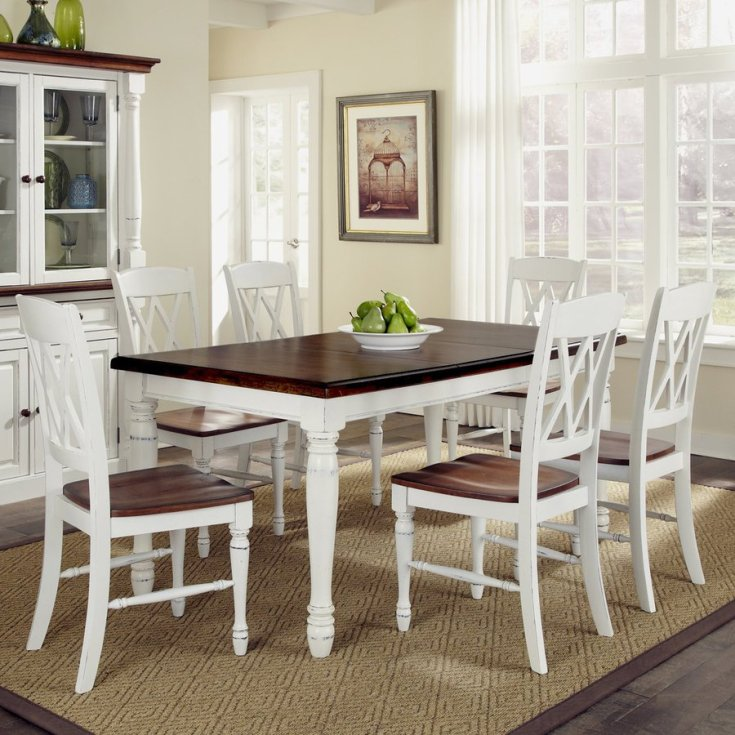 home styles monarch white/oak 7-piece dining set with dining table