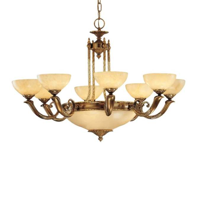Classic Lighting Valencia 37 In 12 Light Antique Bronze Vintage Alabaster Glass Shaded Chandelier