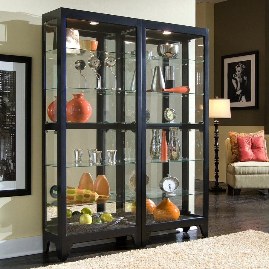 black metal kitchen cabinets cost of shop pulaski onyx wood curio cabinet at lowes.com