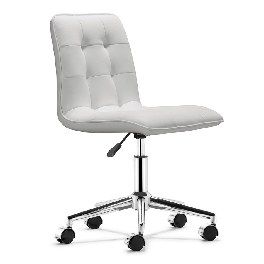 modern grey leather office chair dining pad covers zuo scout white faux task at lowes com