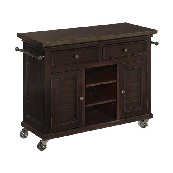 Home Styles 44.5-in L X 17.75-in 32-in Espresso Kitchen Island With Casters
