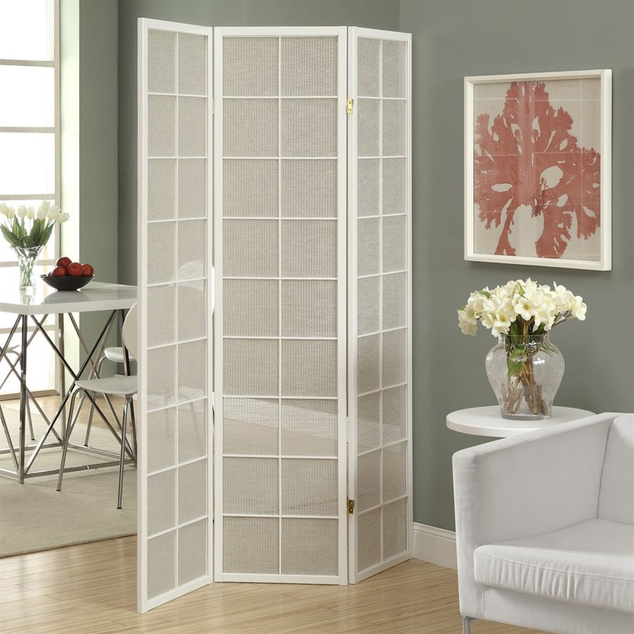 living room fans lowes nebraska furniture mart sets shop monarch specialties 3-panel white wood and fabric ...