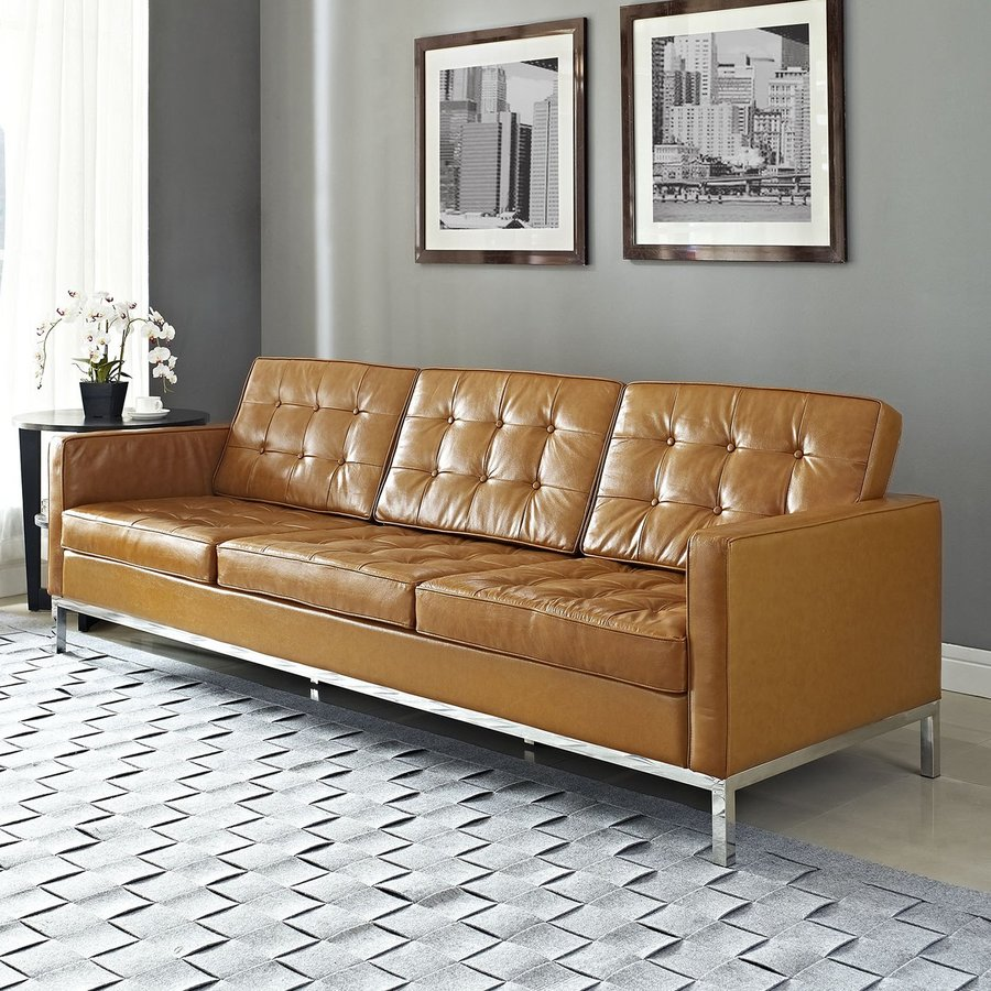 Tan Leather Sectional Couch